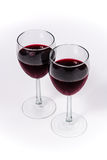 Red Wine in two glasses angle perspective. Wine Glasses with red wine Royalty Free Stock Image