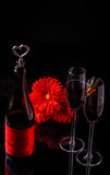 Red wine and two glasses. Red wine in bottle and two wine glasses on black background Royalty Free Stock Photos