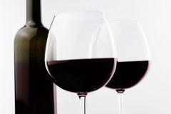 Red wine two glasses and bottle details Royalty Free Stock Images