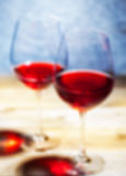 Red wine in two goblets. romantic blur Stock Photography