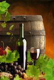 Red wine, vine and cask