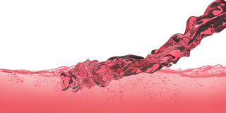 Red wine and Water Red with air bubbles movement close up isolated on white Background Stock Images