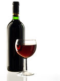 Red wine on white background. Red wine bottle and glass on white background royalty free stock photos