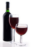 Red wine on white background. Red wine bottle and glass on white background stock image