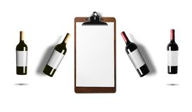 Red wine, White wine, bottles isolated on white background royalty free stock photo