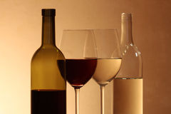 Red Wine And White Wine Royalty Free Stock Photos
