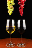Red wine and white wine. Royalty Free Stock Photography
