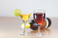Red Wine and white wine Stock Image
