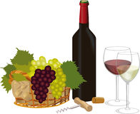 Red wine and white wine Stock Photography