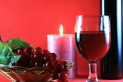 Red Wine with Wine Bottle Royalty Free Stock Images
