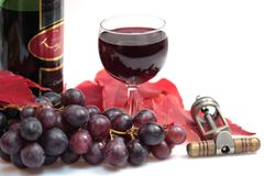Red wine and wine bottle Stock Photo