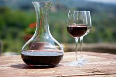 Red wine in a wine carafe and a two wine glasses Royalty Free Stock Photo