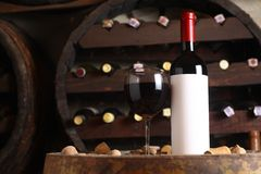 Red wine in wine cellar Royalty Free Stock Photo