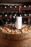 Red wine in wine cellar Stock Photos