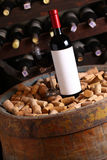 Red wine in wine cellar Royalty Free Stock Images