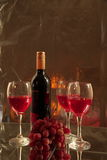 Red wine wine and grapes. Stock Image