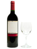 Red wine with wineglass. Bottle of the red wine with wineglass against the white background stock photos