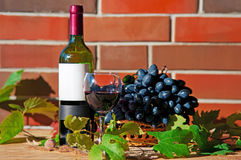Red wine in wineglass with grape. And leaves near brick wall royalty free stock image