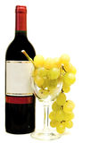 Red wine with wineglasses and grape Royalty Free Stock Photos