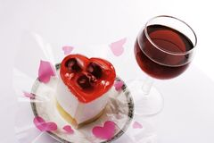 Red Wine With Dessert Royalty Free Stock Images