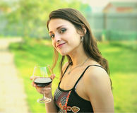 Red wine. Woman drinking red wine Royalty Free Stock Image