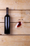 Red wine on wood Stock Image