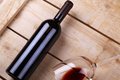 Red wine on wood Royalty Free Stock Photo