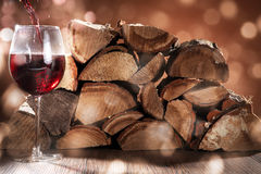 Red wine and wood Stock Photo