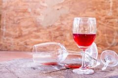 Red wine on wooden background still life image Stock Photos