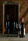Red wine in wooden box. Four bottles and a glass of red wine stock image