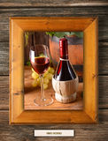 Red wine in a wooden frame Royalty Free Stock Photos