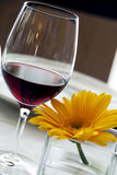 Red wine and yellow flower. A glass of red wine and a yellow flower Royalty Free Stock Photos