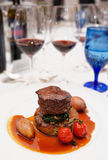 Red wines and tenderloin steak Royalty Free Stock Image