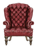Red wing-back chair. Luxury antique style royal chair with grunge leather upholstery and decorative knobs. Digital painting Royalty Free Stock Image