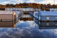 Red Wing Boathouses. Boathouses in Bayfront Park in Red Wing, Minnesota Royalty Free Stock Photography