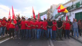 Protesters during a manifestation in Taormina for G7 stock video