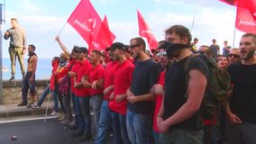 Protesters during a manifestation in Taormina for G7 stock footage