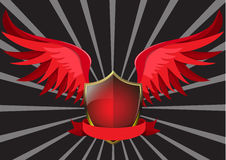 Red wings. Glossy red shield with wings Stock Photo