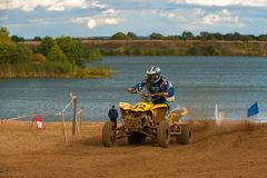 Red Wings Cup 2017. SERPUKHOV, RUSSIA - OCTOBER 7, 2017: Dan`kov Vladimir 42,  Class ATV, in the 4 stage  MX series, the Red Wings Cup 2017 super country-cross Stock Image