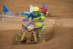 Red Wings Cup 2017. SERPUKHOV, RUSSIA - OCTOBER 7, 2017: Elagin Yan 737,  Class ATV, in the 4 stage  MX series, the Red Wings Cup 2017 super country-cross, Moto Stock Image
