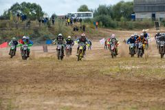 Red Wings Cup 2017 super country-cross. SERPUKHOV, RUSSIA - OCTOBER 7, 2017: The start of the race, Class Super-sprint absolute, in the 4 stage  MX series, the Royalty Free Stock Images