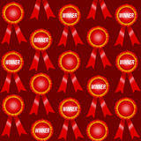 Red Winner Ribbons Pattern Stock Image