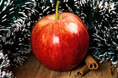 Red winter apple with cinnamon sticks Stock Photography