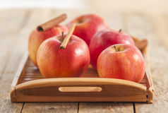 Red winter apples with cinnamon sticks Royalty Free Stock Image
