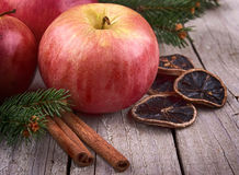 Red winter apples with cinnamon Stock Images