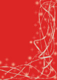 Red winter background. For Christmas with glowing snowflakes and abstract lines Stock Photography