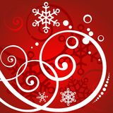 Red winter background. With white curls and snowflakes Stock Photography