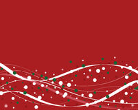 Red Winter Background. With white abstract curves and green, red, and white Christmas dots Stock Photos