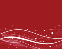 Red Winter Background. Red abstract background with white curves, lines, dots, and snowflakes royalty free illustration