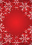 Red winter background. Red winter frame with snowflakes Royalty Free Stock Photos